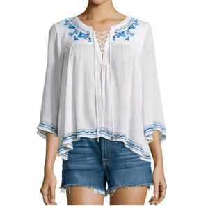 Lovers + Friends S white blue gauze peasant top